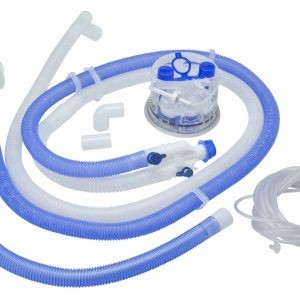 Circuito p/ Ventilador Invasivo Adulto c/ Cable Calentador en las Dos Mangueras de 1.50 M c/Línea p/Humidificador, 2 Líneas de Presión, Cámara de Humidificación, Adaptador de Tubería de Oxígeno y Cola de Ratón